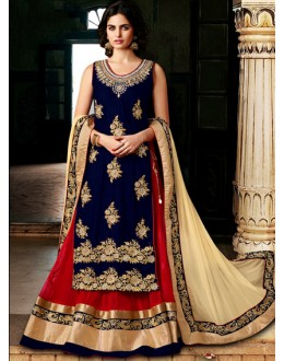 Festival Wear Blue Velvet Lehenga Suit  - 80208
