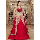 Wedding Wear Beige & Red Net Lehenga Suit  - 80210