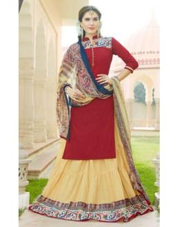 Party Wear Red & Beige Lehenga Suit  - 80363