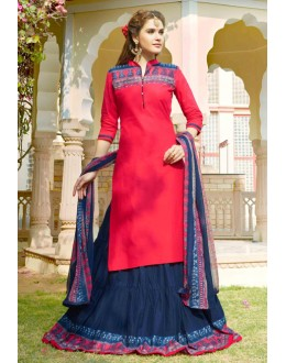 Party Wear Pink & Blue Lehenga Suit  - 80365