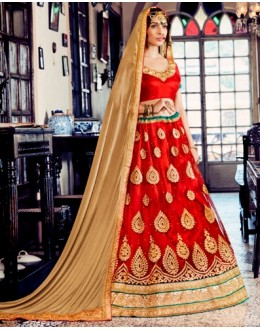 Festival Wear Red Net Lehenga Choli - 80383