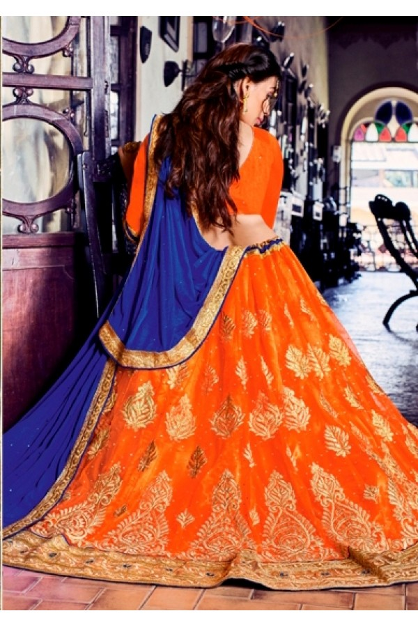 Traditional Orange Net Lehenga Choli - 80386