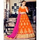 Designer Orange Net Lehenga Choli - 80388