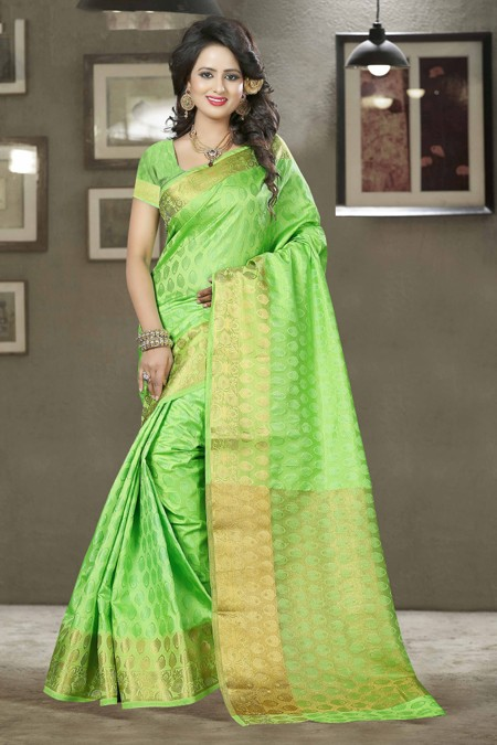 Party Wear Green Silk Saree - 80571
