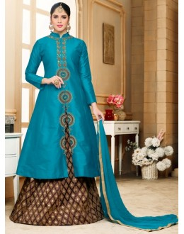 Ethnic Wear Blue Silk Lehenga Suit  - 80600
