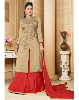 Ethnic Wear Brown Silk Lehenga Suit  - 80603