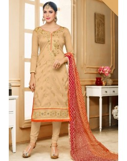 Office Wear Brown Silk Salwar Suit  - 80605
