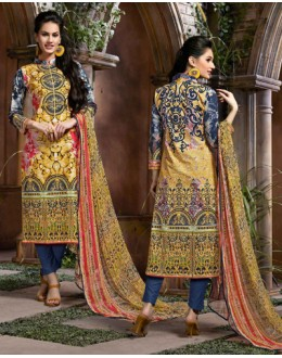 Ethnic Wear Yellow & Blue Cotton Salwar Suit  - 80634