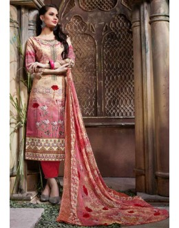 Office Wear Pink & Red Cotton Salwar Suit  - 80635