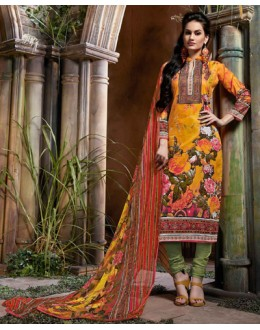 Ethnic Wear Yellow & Green Cotton Salwar Suit  - 80638