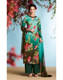Office Wear Turquoise Georgette Palazzo Suit  - 80665