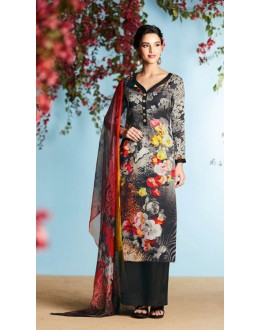 Office Wear Black Georgette Palazzo Suit  - 80668