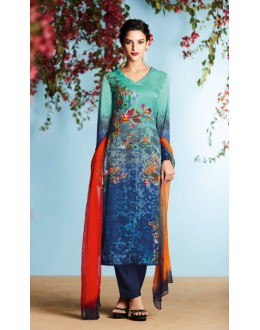 Casual Wear Turquoise Georgette Palazzo Suit  - 80670