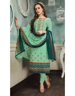 Festival Wear Green Georgette Salwar Suit  - 80697