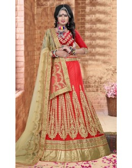 Designer Red Silk Lehenga Choli - 80848