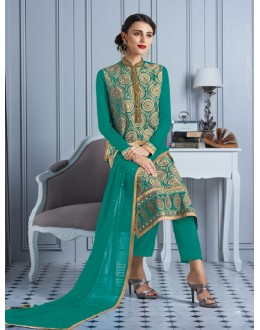Party Wear Green Georgette Salwar Suit  - 81011