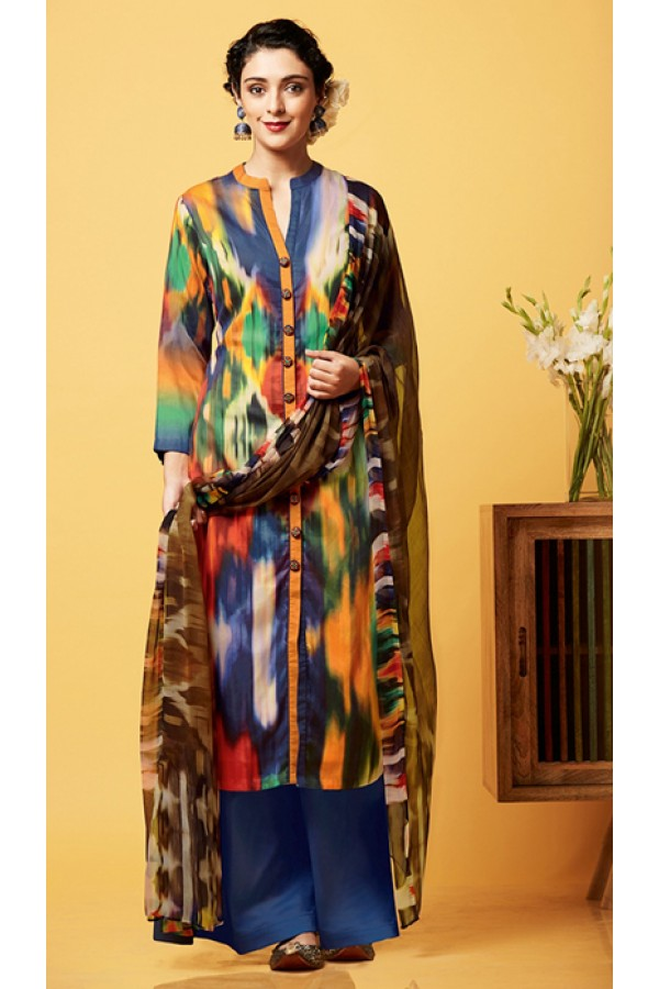 Casual Wear Multi-Colour Chiffon Palazzo Suit  - 81257