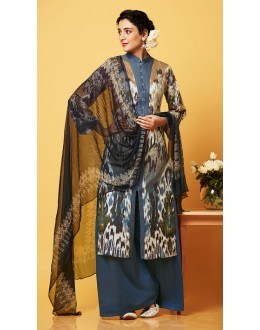 Casual Wear Multi-Colour Chiffon Palazzo Suit  - 81258