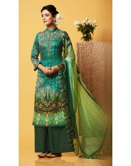 Office Wear Green Chiffon Palazzo Suit  - 81261