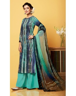 Office Wear Turquois Chiffon Palazzo Suit  - 81263