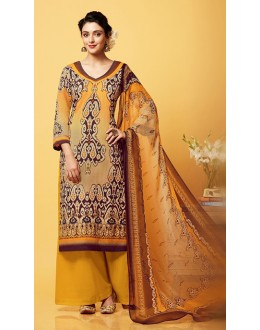 Office Wear Beige & Yellow Chiffon Palazzo Suit  - 81266