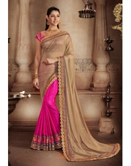 Party Wear Brown & Pink Art Silk Saree - 81301