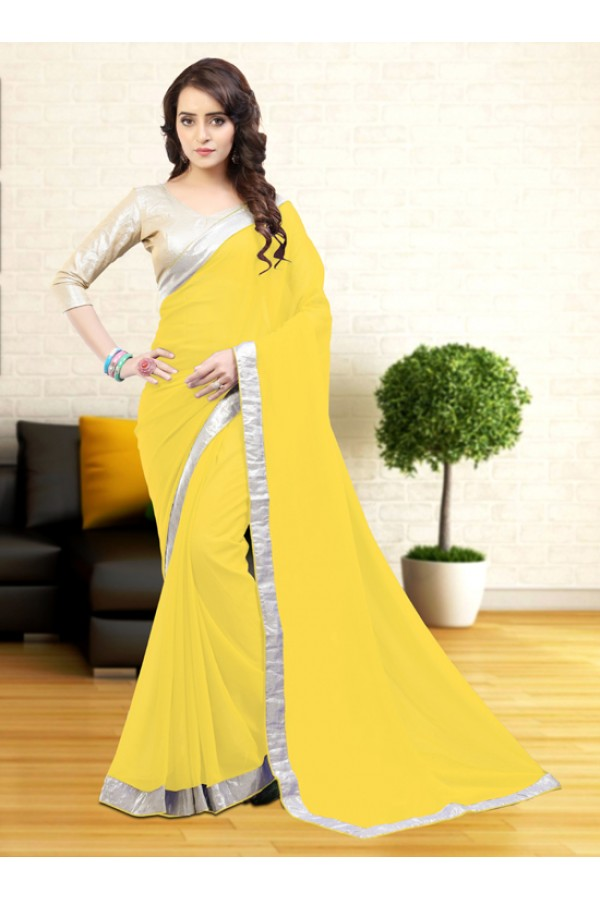 Casual Wear Yellow Gerogette Saree  - 81631