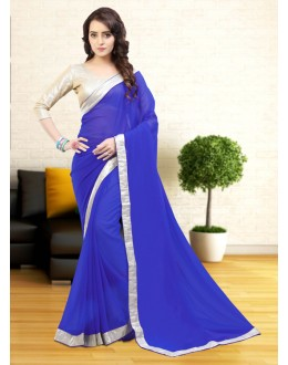 Ethnic Wear Blue Gerogette Saree  - 81632