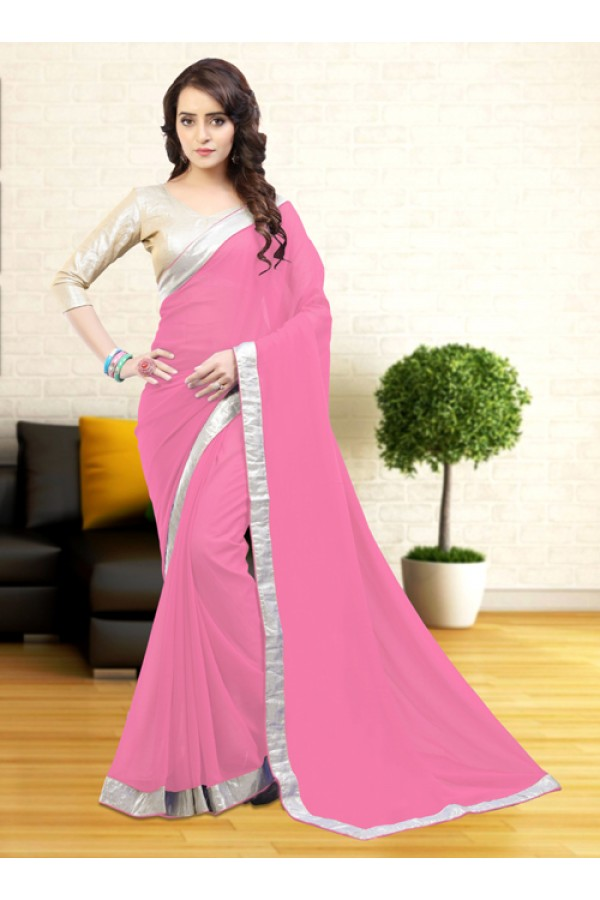 Casual Wear Pink Gerogette Saree  - 81634