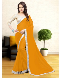 Ethnic Wear Yellow Gerogette Saree  - 81635