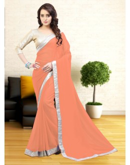 Casual Wear Orange Gerogette Saree  - 81639