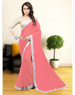 Party Wear Pink Gerogette Saree  - 81646