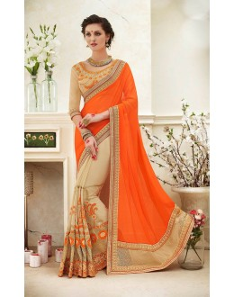 Festival Wear Orange & Beige Saree  - 82420