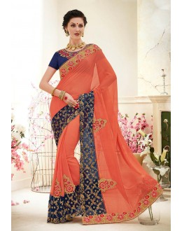 Ethnic Wear Peach Chiffon Saree  - 82423