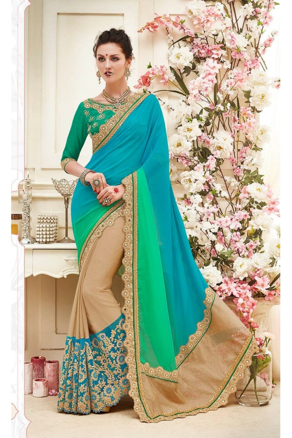 Festival Wear Multi-Colour Georgette Saree  - 82426