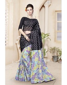 Black Cotton Printed Saree  - 82476