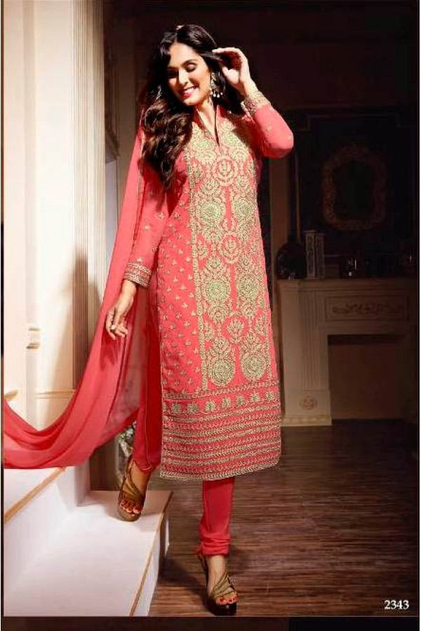 Eid Special Pink  Churidar suit -2343