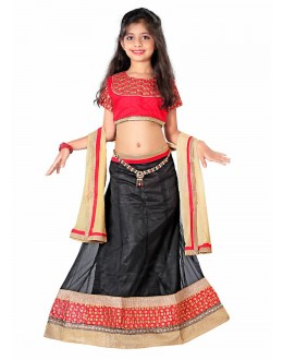 Kids Wear Beautiful Black Net Lehenga Choli - 55731