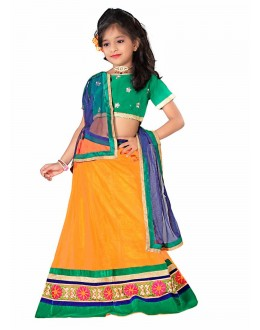Kids Wear Beautiful Orange Net Lehenga Choli - 55735