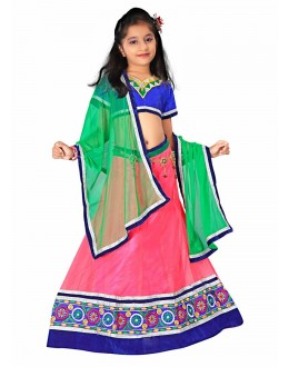 Kids Wear Designer Pink Net Lehenga Choli - 55736