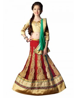 Kids Wear Designer Red Lycra Lehenga Choli - 63053