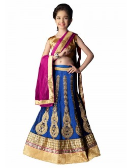 Kids Wear Beautiful Blue Lycra Lehenga Choli - 63054
