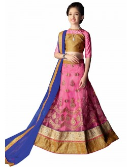 Kids Wear Beautiful Pink Lycra Lehenga Choli - 63055