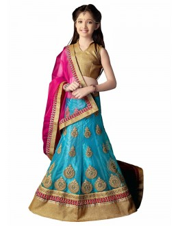 Kids Wear Beautiful Sky Blue Net Lehenga Choli - 63057