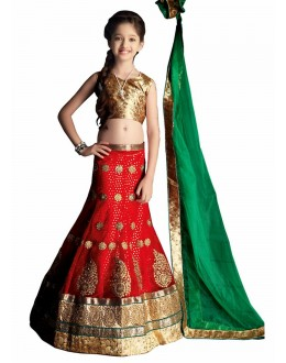 Kids Wear Designer Red Lycra Lehenga Choli - 63058