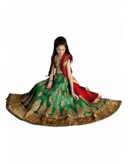 Kids Wear Designer Green Lycra Lehenga Choli - 63059