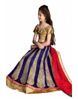 Kids Wear Beautiful Blue Lycra Lehenga Choli - 63060