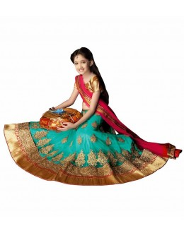 Kids Wear Designer Green Lycra Lehenga Choli - 63061