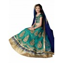 Kids Wear Beautiful Green Lycra Lehenga Choli - 63063