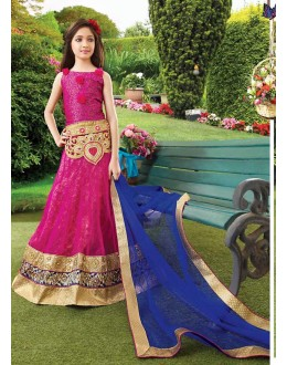 Kids Wear Designer Pink Net Lehenga Choli - 72764